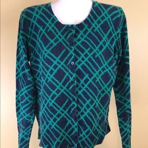 Merona Blue Green Long Sleeve Crew Neck Sweater XL